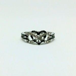 Jewelry - Silver Black Heart Infinity Ring Size 7.5 NIB
